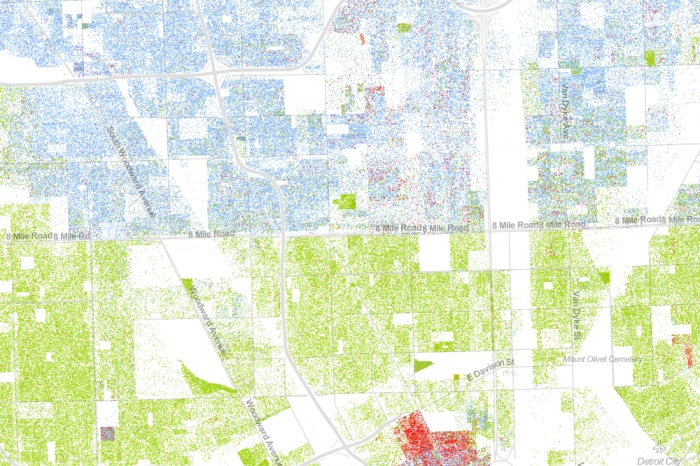 Drawing from the 2010 Census, this map shows one dot per person. White people are shown with blue dots; African-Americans with green; Asians with red; and Latinos with orange, with all other race categories from the Census represented by brown. Pictured here: Detroit.